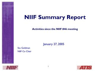 NIIF Summary Report Activities since the NIIF #46 meeting