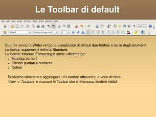 Le Toolbar di default