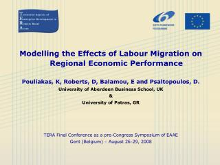 Modelling the Effects of Labour Migration on Regional Economic Performance Pouliakas, K, Roberts, D, Balamou, E and Psa