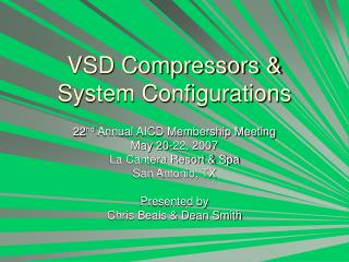 VSD Compressors & System Configurations