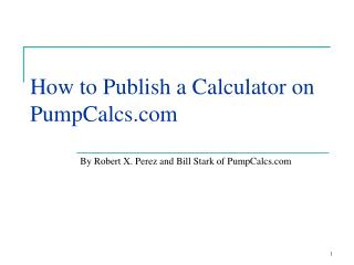 How to Publish a Calculator on PumpCalcs.com