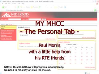 MY MHCC - The Personal Tab -