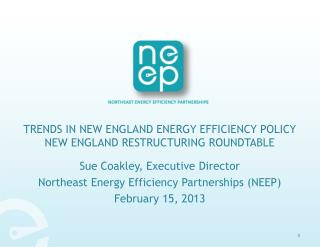 Trends in New England Energy Efficiency Policy New England Restructuring Roundtable