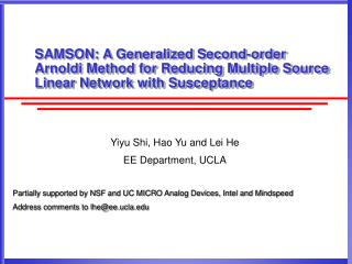 SAMSON: A Generalized Second-order Arnoldi Method for Reducing Multiple Source Linear Network with Susceptance