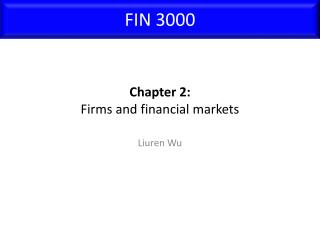 Chapter 2: Firms and financial markets