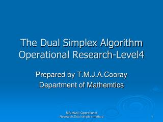 The Dual Simplex Algorithm Operational Research-Level4