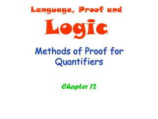 Methods of Proof for Quantifiers