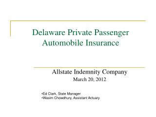 Delaware Private Passenger Automobile Insurance