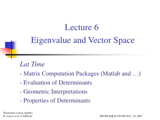 Eigenvalues and Eigenvectors: Additional Notes