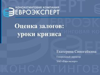 Екатерина Синогейкина Генеральный директор ЗАО «Евроэксперт»