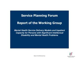 Service Planning Forum Report of the Working Group