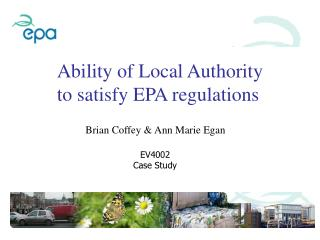 Ability of Local Authority to satisfy EPA regulations