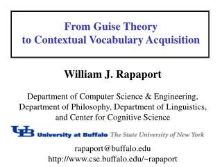 From Guise Theory to Contextual Vocabulary Acquisition