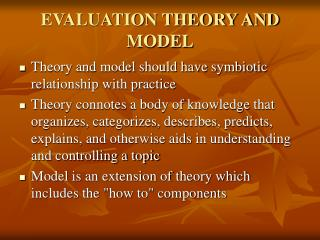 EVALUATION THEORY AND MODEL