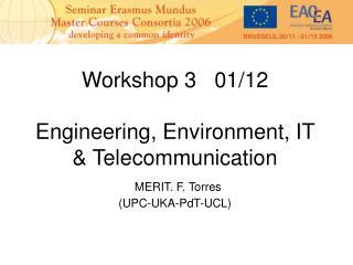 Workshop 3   01/12 Engineering, Environment, IT & Telecommunication MERIT. F. Torres (UPC-UKA-PdT-UCL)