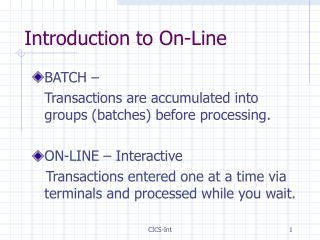 Introduction to On-Line