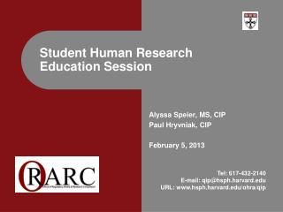 Student Human Research Education Session