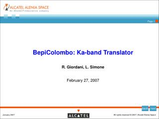 BepiColombo: Ka-band Translator R. Giordani, L. Simone February 27, 2007