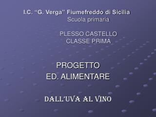 """I.C. """"G. Verga"""" Fiumefreddo di Sicilia Scuola primaria PLESSO CASTELLO  CLASSE PRIMA"""