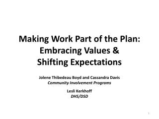 Making Work Part of the Plan:  Embracing Values &  Shifting Expectations