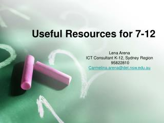 Useful Resources for 7-12