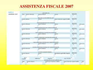 ASSISTENZA FISCALE 2007