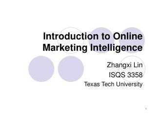 Introduction to Online Marketing Intelligence