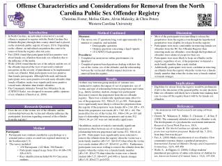 Offense Characteristics and Considerations for Removal from the North Carolina Public Sex Offender Registry