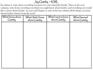 Jay Gatsby  ~ KWL