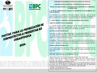 PAUTAS  PARA LA PRIORIZACIÓN DE SUBPROYECTOS A PRESENTAR EN CORANTIOQUIA 2004