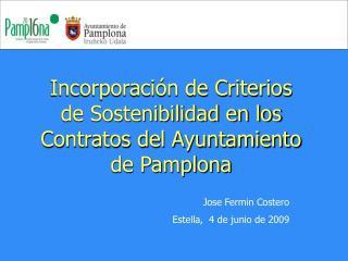 Incorporación de Criterios de Sostenibilidad en los Contratos del Ayuntamiento de Pamplona