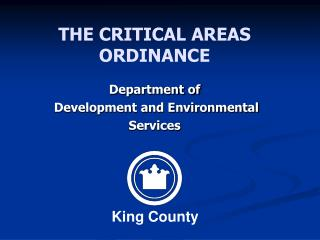 THE CRITICAL AREAS ORDINANCE