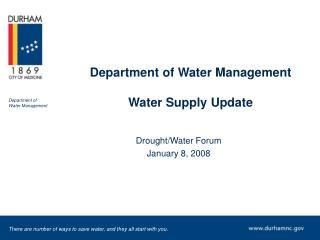 Department of Water Management Water Supply Update