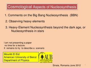 Cosmological Aspects of Nucleosynthesis