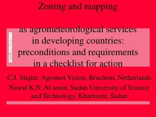 Zoning and mapping as agrometeorological services in developing countries: preconditions and requirements in a checklis