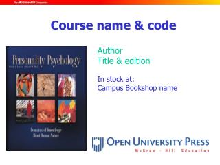 Author Title & edition In stock at: Campus Bookshop name