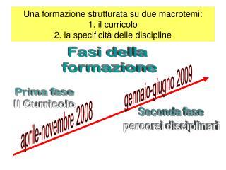 Una formazione strutturata su due macrotemi: 1. il curricolo 2. la specificità delle discipline
