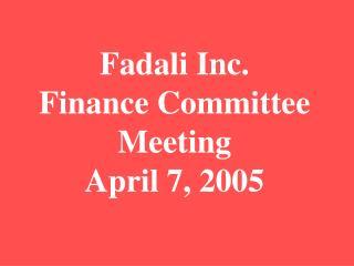 Fadali Inc. Finance Committee Meeting April 7, 2005