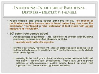 Intentional Infliction of Emotional Distress –  Hustler v. Falwell