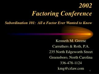 2002 Factoring Conference Subordination 101:  All a Factor Ever Wanted to Know