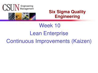 Six Sigma Quality Engineering