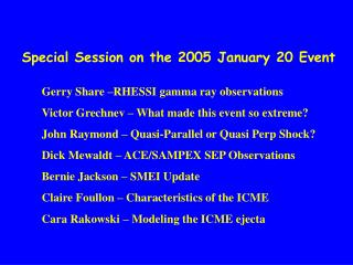 Special Session on the 2005 January 20 Event