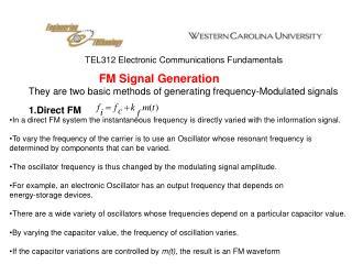 TEL312 Electronic Communications Fundamentals