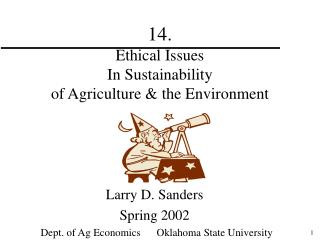 14.   Ethical Issues In Sustainability of Agriculture & the Environment