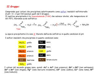 Comprende quei cationi che precipitano selettivamente come  solfuri  insolubili nell�intervallo di pH = 0  � 2 per HCl