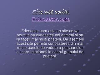 S ite web social Friendster.com