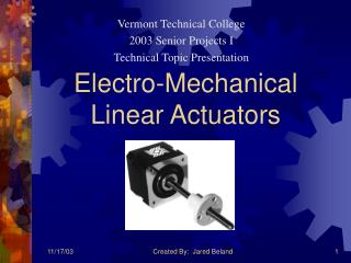 Electro-Mechanical Linear Actuators