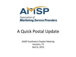 A Quick Postal Update