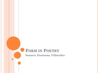 Form in Poetry