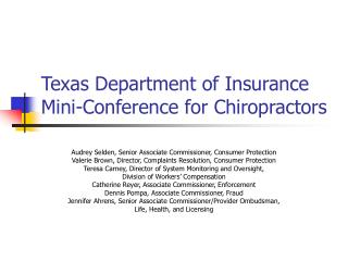 Texas Department of Insurance Mini-Conference for Chiropractors